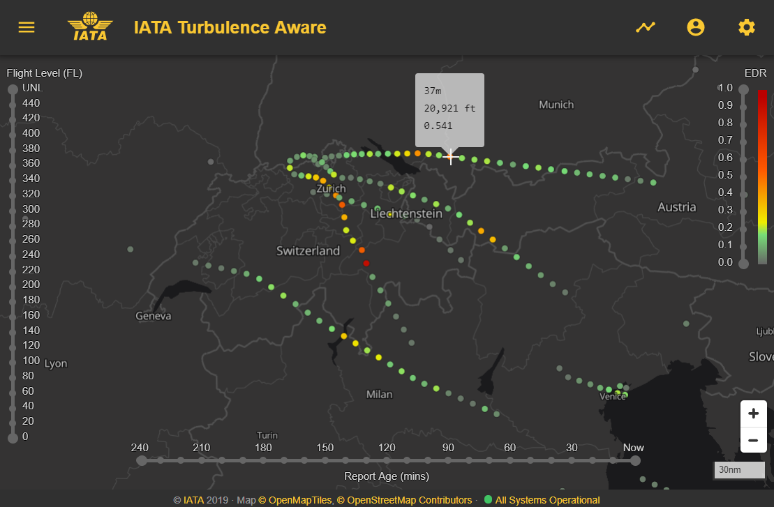 Display of real-time turbulence measurements over Switzerland on the IATA Turbulence Viewer